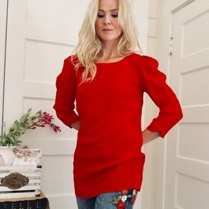 "Red Long Sleeve Blouse by ""Gianni Bini"""
